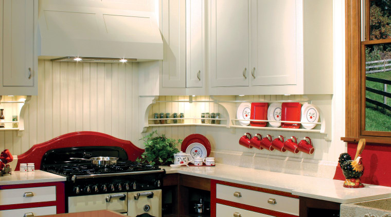 View of a country kitchen which features cabinetry cabinetry, countertop, home, interior design, kitchen, room, white