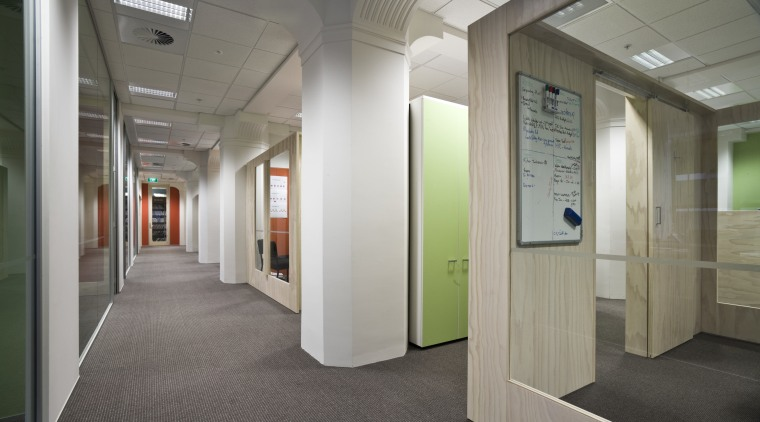 Interior view of Spicers office building which features floor, interior design, lobby, gray
