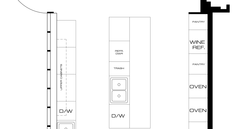 View of floor plans for kitchen area, black and white, diagram, font, line, product design, structure, text, white
