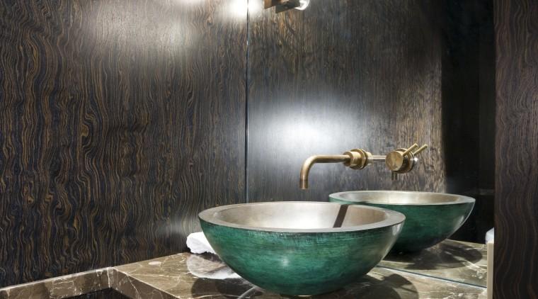 View of powder room, dark stained veneer vanity bathroom, countertop, floor, flooring, interior design, room, tile, wall, black