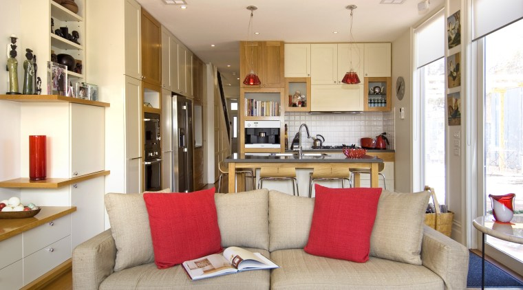 View of a renovated kitchen which has had furniture, home, interior design, living room, real estate, room, white