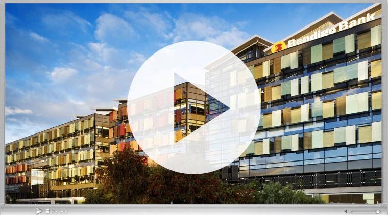 Bendigo Bank Video Thumbnail apartment, architecture, building, commercial building, condominium, corporate headquarters, facade, headquarters, mixed use, property, real estate, residential area, sky, white