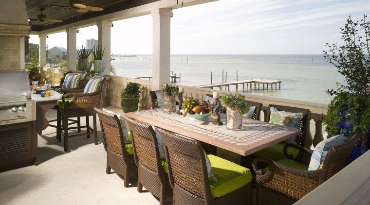 View of an outdoor kitchen at a seaside interior design, outdoor structure, patio, property, real estate, resort, roof, table, white, brown