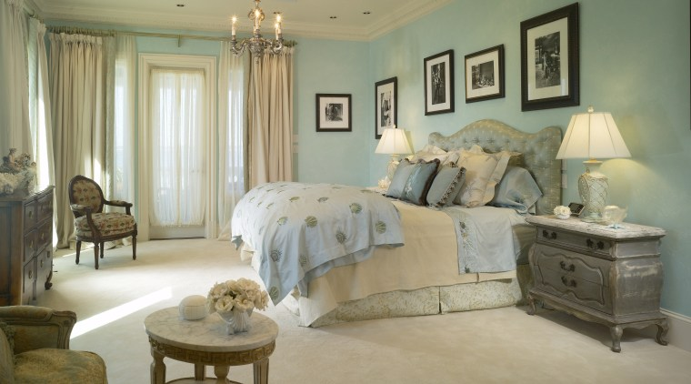 View of the master bedroom featuring a bed bed, bed frame, bed sheet, bedding, bedroom, ceiling, estate, floor, furniture, home, interior design, living room, room, wall, window, brown