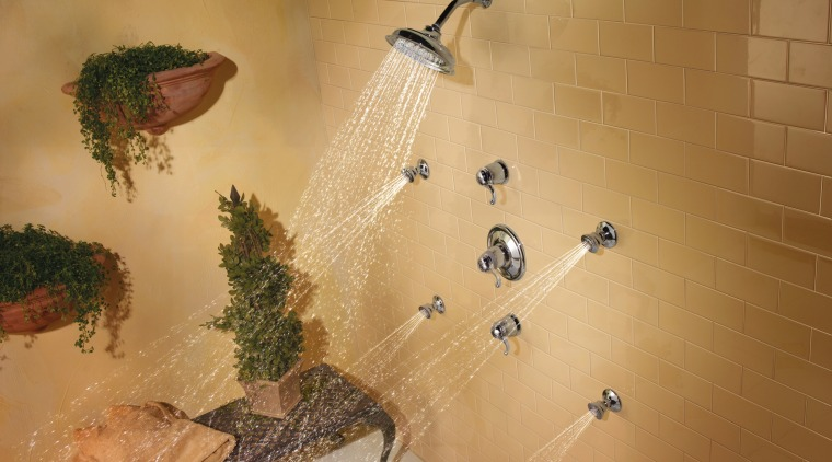 view of shower enclosure which features the showerheads fauna, tile, wall, orange, brown