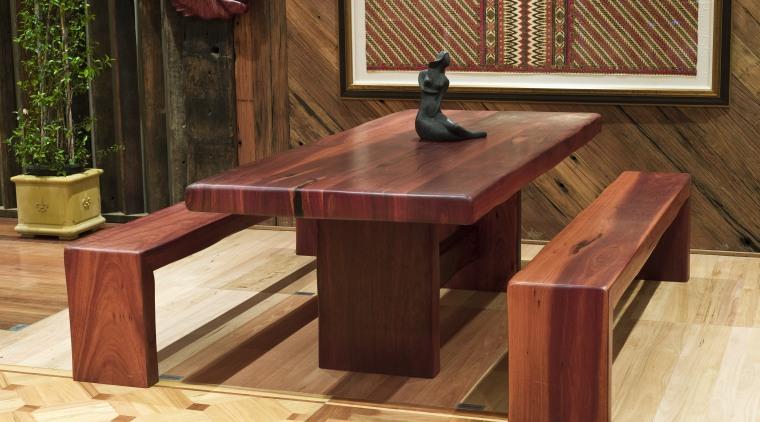 View of a table created by Ironwood Antique bench, floor, flooring, furniture, hardwood, table, wood, wood stain, brown, orange