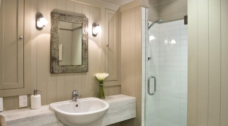 View of bathroom, vanity, basin, shower enclosure, toilet, bathroom, ceiling, home, interior design, plumbing fixture, room, gray, brown