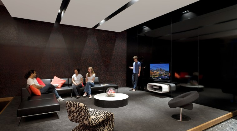 View of a student common area which features furniture, interior design, black, gray