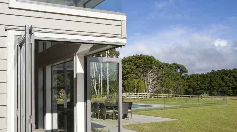 Image of Rylock windows and doors installed high-end architecture, estate, facade, home, house, real estate, window, gray