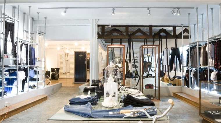 Interior view of the clothing displays at the furniture, white
