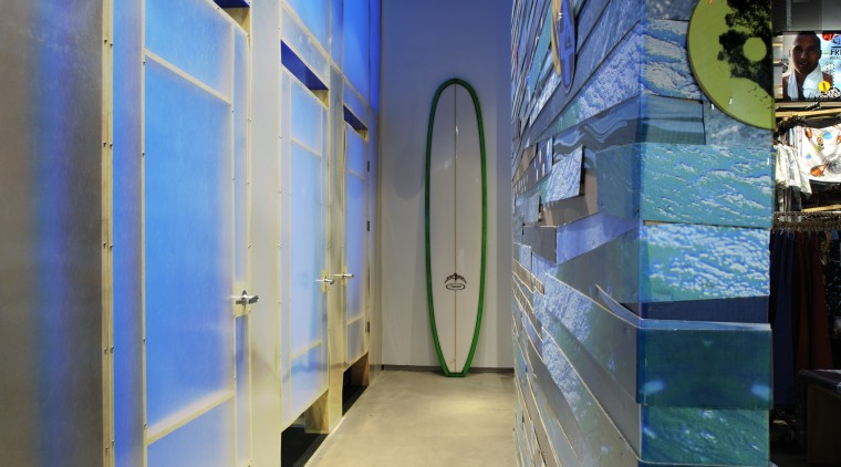 Exterior view of the dressing rooms where fibreglass architecture, blue, glass, interior design, wall