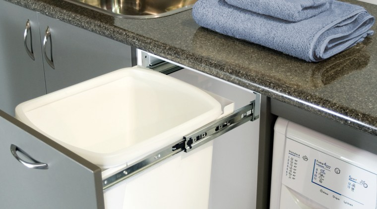 View of hideaway bins from Kitchen King. clothes dryer, countertop, home appliance, laundry, laundry room, major appliance, product design, room, sink, tap, washing machine, white, gray