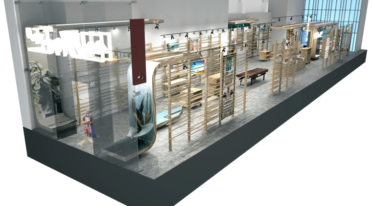 Schematic image of the Quicksilver store without any display case, glass, product, product design, white, gray
