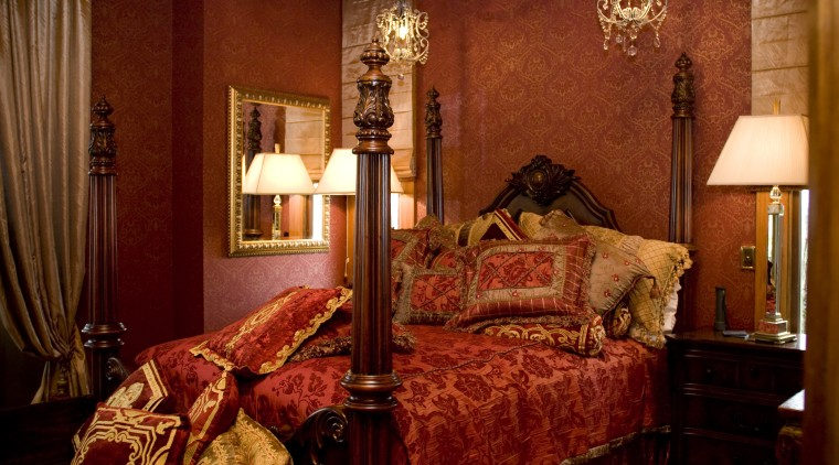 View of a bedroom with a Victorian-styled four-post bed, bedroom, furniture, home, interior design, lighting, room, suite, textile, window, red