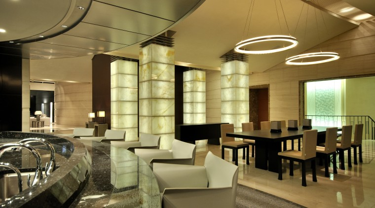 View of open-plan dining area which features black ceiling, interior design, lobby, restaurant, brown