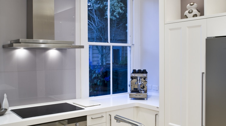 View of a renovated villa kitchen which features countertop, home appliance, interior design, kitchen, room, white, gray