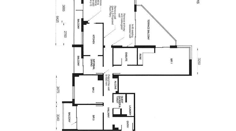 View of plans for this apartment kitchen. angle, area, black and white, design, diagram, drawing, floor plan, font, line, plan, product design, schematic, text, white