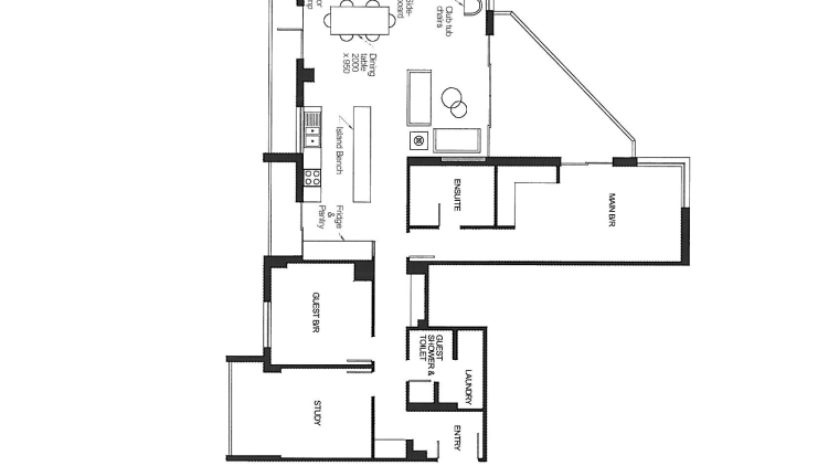 View of plans for this apartment kitchen. angle, area, black and white, design, diagram, drawing, floor plan, font, line, plan, product, product design, schematic, square, text, white