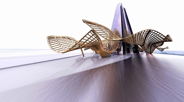 Conceptual image of a podium canopy for the insect, invertebrate, product design, wing, white, gray