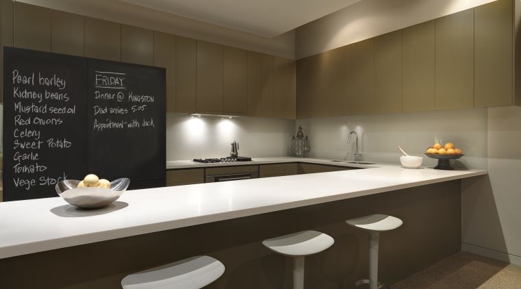 View of a renovated kitchen which features a countertop, interior design, kitchen, sink, brown