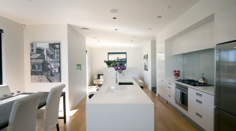 View of a kitchen and dining area designed apartment, ceiling, countertop, house, interior design, kitchen, property, real estate, room, gray