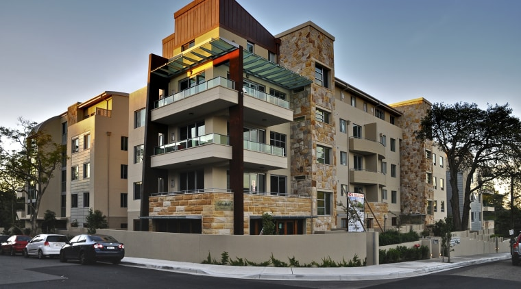 Exterior view of the Lindfield Apartments which were apartment, architecture, building, commercial building, condominium, elevation, facade, home, house, mixed use, neighbourhood, property, real estate, residential area, black, gray