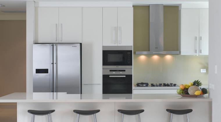 View of an apartment kitchen at the Lindfield cabinetry, countertop, cuisine classique, home appliance, interior design, kitchen, kitchen appliance, kitchen stove, major appliance, product design, refrigerator, small appliance, gray