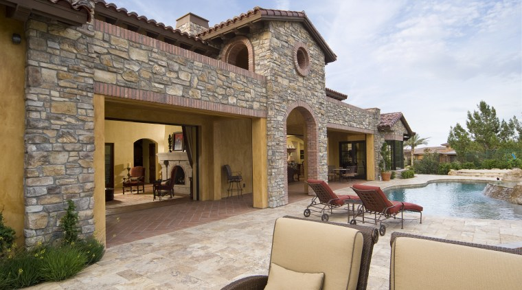 Exterior view of outdoor area with pool and estate, hacienda, home, property, real estate, villa, brown, gray