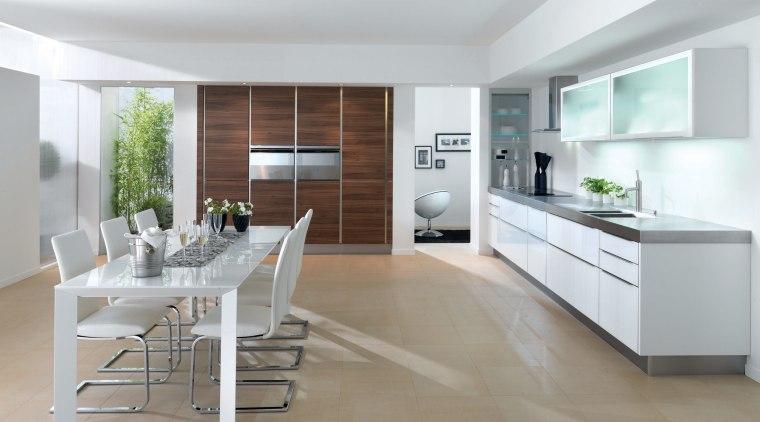 View of a kitchen manufactured by Schmidt kitchens countertop, cuisine classique, floor, interior design, kitchen, white, gray