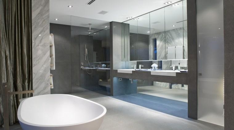 Contemporary bathroom with unique bathtub architecture, bathroom, interior design, gray, black