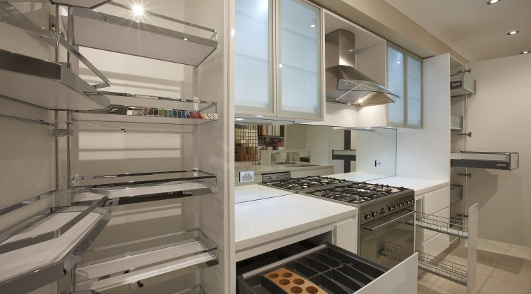 View of an Apollo Kitchens showroom which showcases countertop, interior design, kitchen, gray, brown