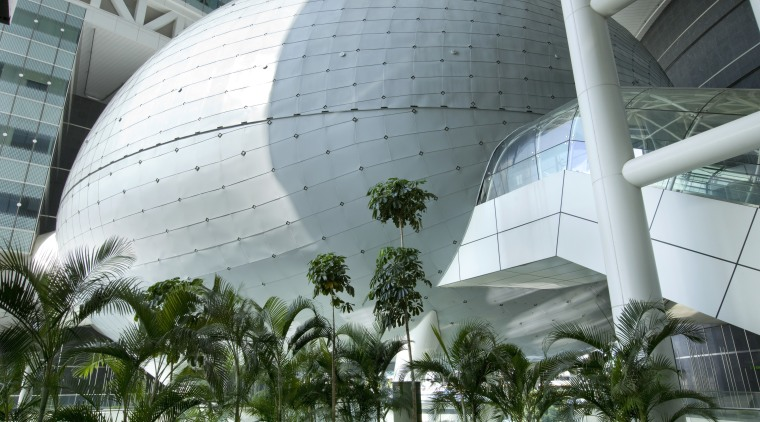 Exterior view of the Fusionopolis commercial/residential tower which architecture, biome, building, condominium, daylighting, dome, structure, tourist attraction, tree, gray