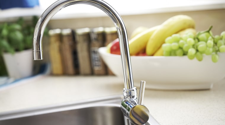 View of long-neck arched tap in a kitchen kitchen, product design, sink, small appliance, tap, white