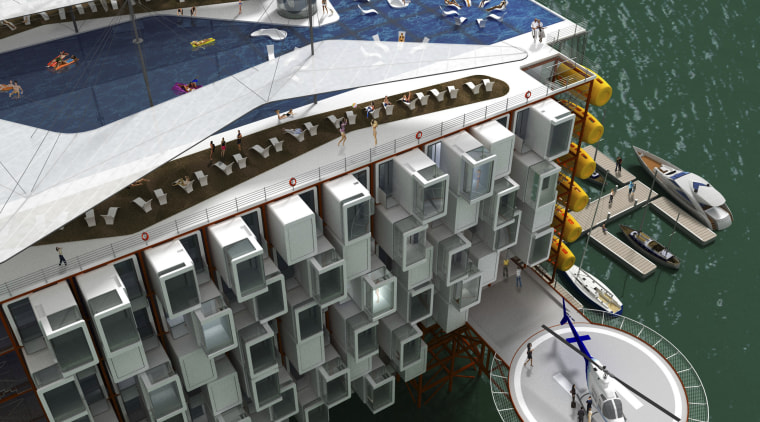 An Oil Rig Resort by Morris Architechs. Just boat, naval architecture, water, water transportation, watercraft, yacht, teal