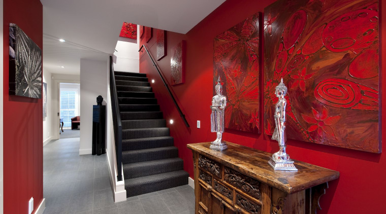 interior stairway view of a home of the interior design, room, red, gray