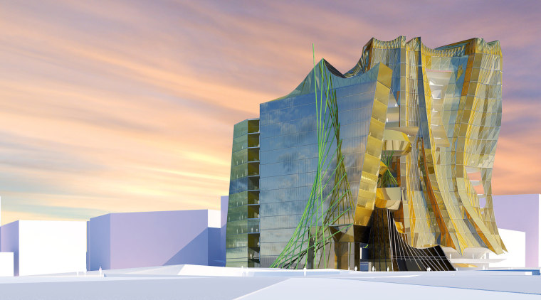 View of the conceptual drawings of the Collaborative architecture, building, sky, gray