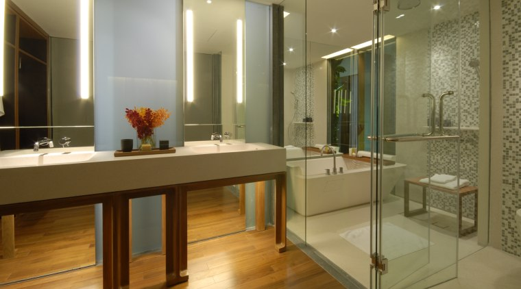 View of a bathroom which features a custom-manufactured bathroom, floor, flooring, interior design, room, brown
