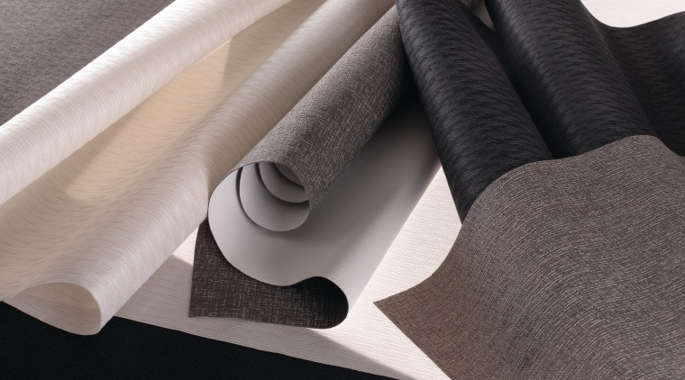 Hunter Douglas Commercial's latest collection feature the use floor, flooring, material, product design, textile, gray, black