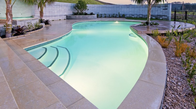 View of a resort-styled pool which was built backyard, estate, leisure, real estate, swimming pool, water, gray