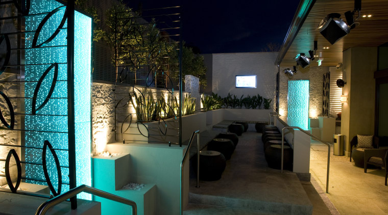 View of the outdoor area of the Terrace home, interior design, lighting, night, restaurant, black, brown