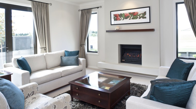 View of the living room featuring lounge suite, home, interior design, living room, property, real estate, room, white