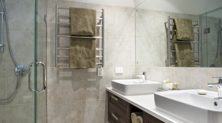 View of master bathroom which features floor and bathroom, countertop, floor, home, interior design, room, tile, gray