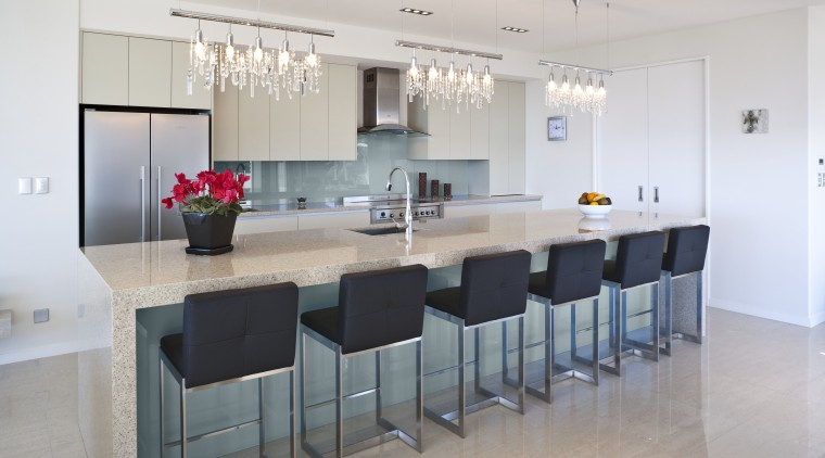 View of a kitchen which features Resene's Coastal countertop, interior design, kitchen, property, real estate, room, table, gray