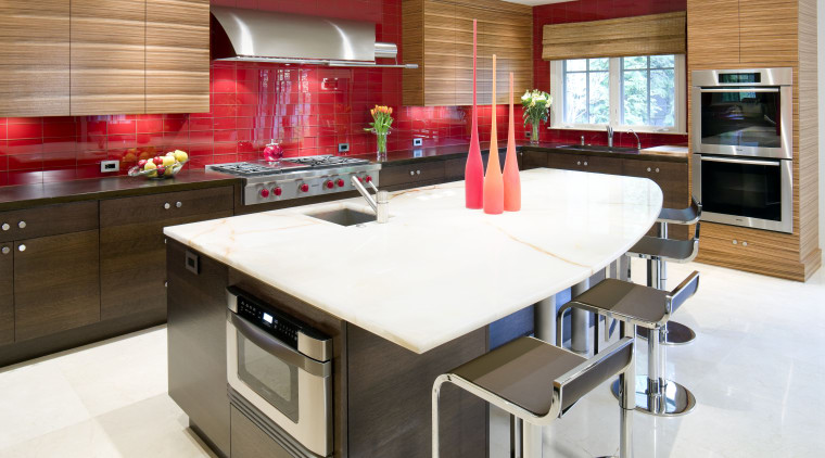 View of a contemporary kitchen which features a cabinetry, countertop, cuisine classique, interior design, kitchen, room, white