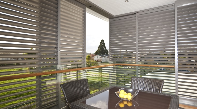 interior deck View of Oak Manor.Motorized opening slides apartment, architecture, daylighting, house, interior design, real estate, window, window blind, window covering, window treatment, gray