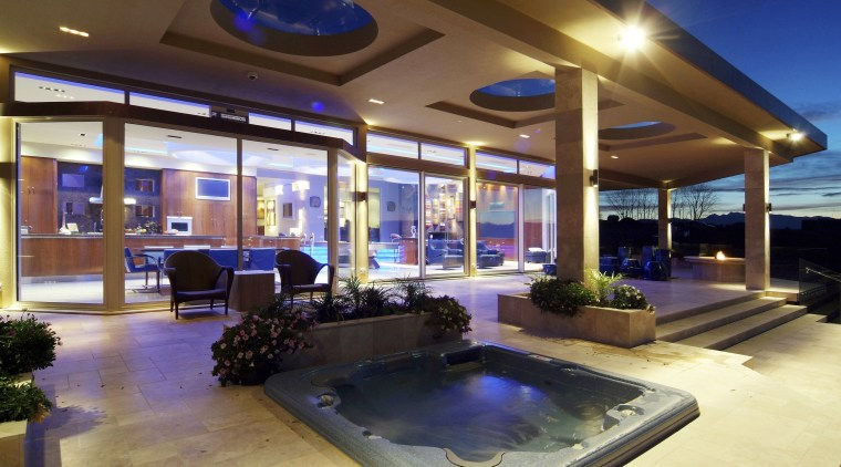 interior deck View of Oak Manor.Motorized opening slides estate, home, interior design, lighting, real estate, brown