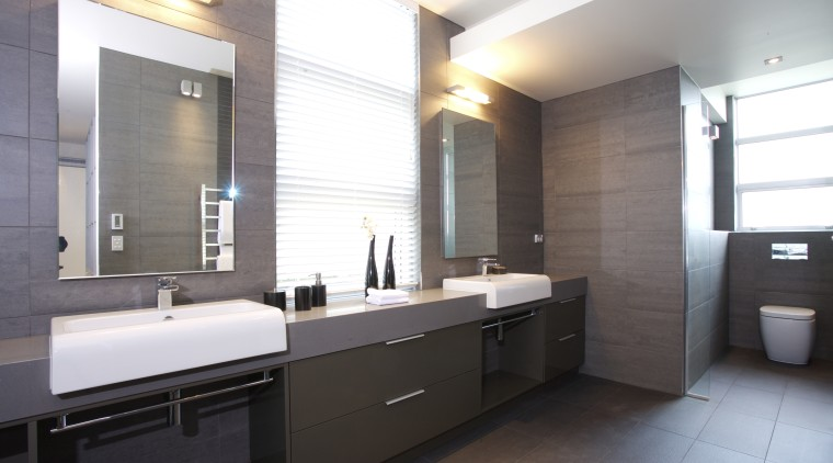 interior bathroom view of oak manor. Design by bathroom, countertop, floor, interior design, kitchen, real estate, room, sink, white, gray