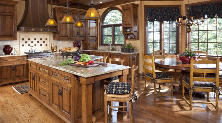 A view of a kitchen by Bruce Kading cabinetry, countertop, cuisine classique, estate, flooring, hardwood, interior design, kitchen, room, wood, wood flooring, brown