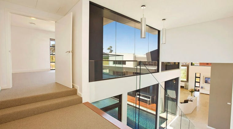 view of void and stairway in this contemporary architecture, house, interior design, property, real estate, window, white