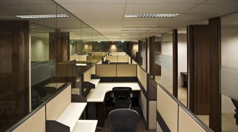 View of updated offices featuring dark timber floors, interior design, office, brown
